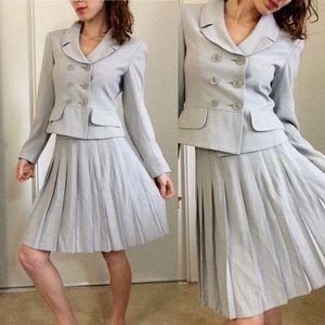 PETITE Sophisticate Grey Suit Set Pleated Skirt